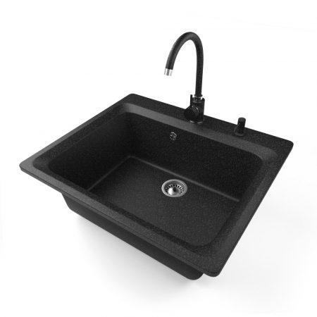 Gránit mosogató NERO Italia + Magasított Csaptelep + Adagoló (Fekete)