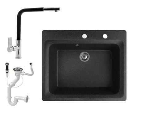 Gránit mosogató NERO Italia + kihúzható Linea csaptelep + dugókiemelő (fekete)