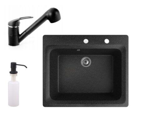Gránit mosogató NERO Italia + kihúzható Shower csaptelep + adagoló (fekete)