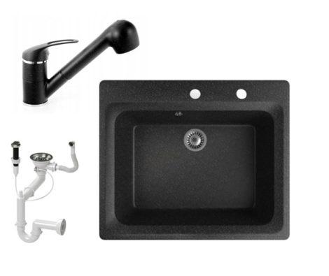 Gránit mosogató NERO Italia + kihúzható Shower csaptelep + dugókiemelő (fekete)