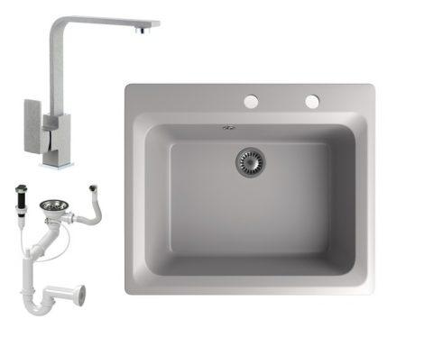 Gránit mosogató NERO Italia + Design csaptelep + dugóemelő (szürke)