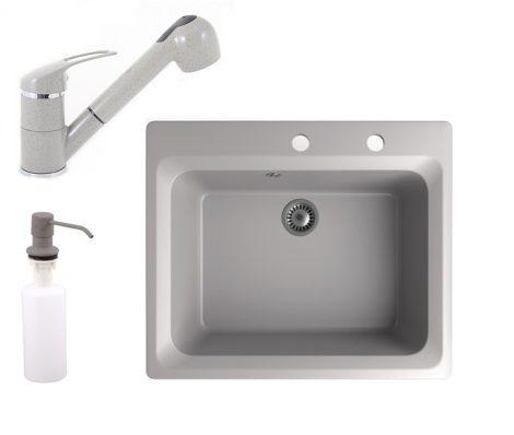 Gránit mosogató NERO Italia + kihúzható Shower csaptelep + adagoló (szürke)