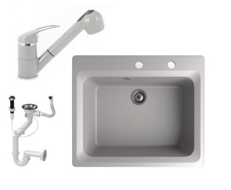 Gránit mosogató NERO Italia + kihúzható Shower csaptelep + dugóemelő (szürke)