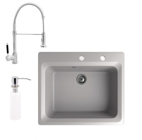 Gránit mosogató NERO Italia + zuhanyfejes Spiral-1 csaptelep + adagoló (szürke)