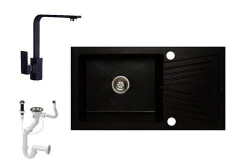 NERO EOS 90-49C Gránit Mosogató + Design csaptelep + Dugóemelő (fekete)