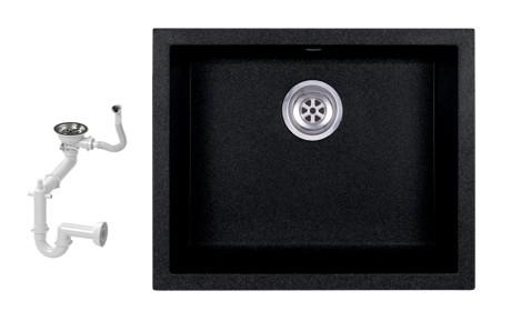 NERO H55-45C Gránit Mosogató + Szifon (fekete - szemcsés)