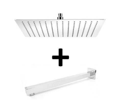 Gamma Slim szögletes esőztető fejzuhany - 20x20 cm + LP03 fali zuhanykar 40 cm