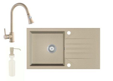 Gránit Mosogató EOS Evinion + kihúzható zuhanyfejes Snake csaptelep + adagoló (bézs)