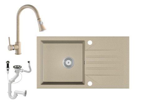Gránit Mosogató EOS Evinion + kihúzható zuhanyfejes Snake csaptelep + dugókiemelő (bézs)