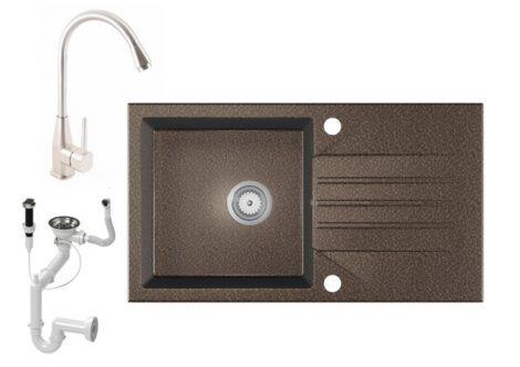 Gránit Mosogató EOS Evinion + magasított Inox-Line-3 csaptelep + dugókiemelő (barna)