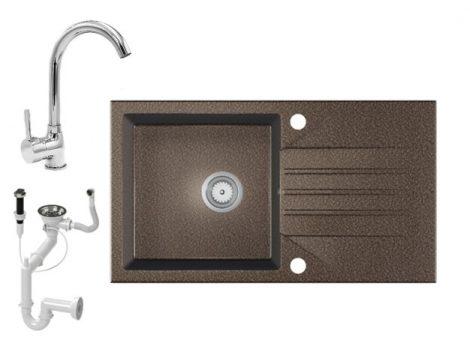 Gránit Mosogató EOS Evinion + magasított króm csaptelep + dugókiemelő (barna)