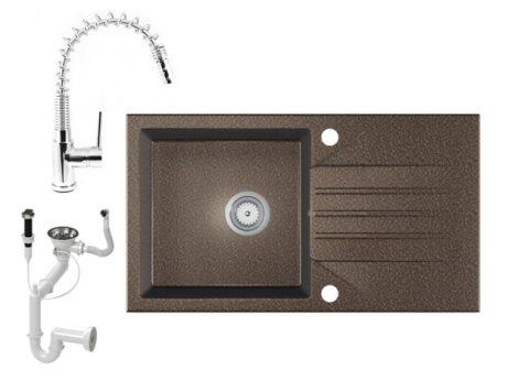 Gránit Mosogató EOS Evinion + kihúzható fejes Spring-Jet csaptelep + dugókiemelő (barna)