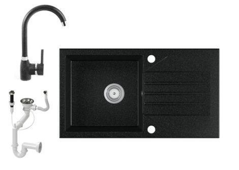Gránit Mosogató EOS Evinion + magasított csaptelep + dugókiemelő (fekete)