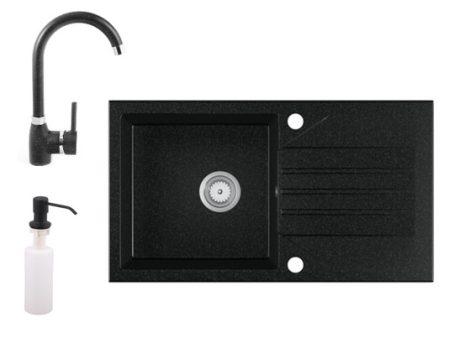 Gránit Mosogató EOS Evinion + magasított csaptelep + adagoló (Fekete)