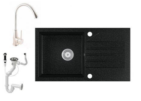 Gránit Mosogató EOS Evinion + magasított Inox-Line-3 csaptelep + dugókiemelő (fekete)