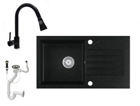 Gránit Mosogató EOS Evinion + kihúzhaató zuhanyfejes Snake csaptelep + dugókiemelő (fekete)