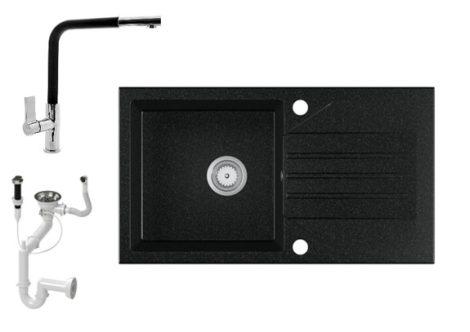 Gránit Mosogató EOS Evinion + kihúzhaató Linea csaptelep + dugókiemelő (fekete)