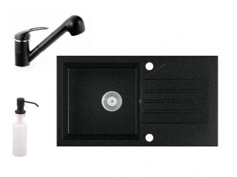 Gránit Mosogató EOS Evinion + kihúzhaató zuhanyfejes Shower csaptelep + adagoló (fekete)