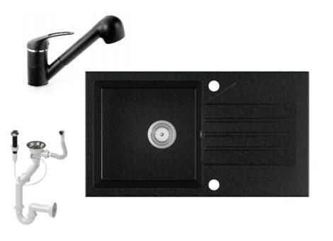 Gránit Mosogató EOS Evinion + kihúzhaató zuhanyfejes Shower csaptelep + dugókiemelő (fekete)