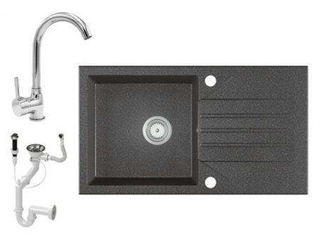 Gránit Mosogató EOS Evinion + magasított króm csaptelep + dugókiemelő (grafit)