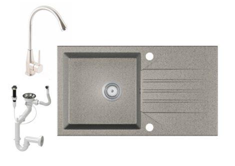 Gránit Mosogató EOS Evinion + magasított Inox-Line-3 csaptelep + dugókiemelő (szürke)