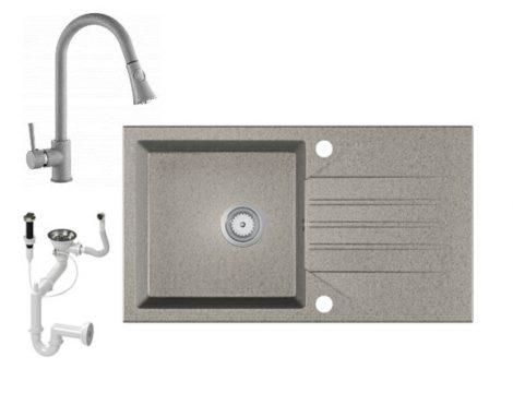 Gránit Mosogató EOS Evinion + kihúzható zuhanyfejes Snake csaptelep + dugókiemelő (szürke)