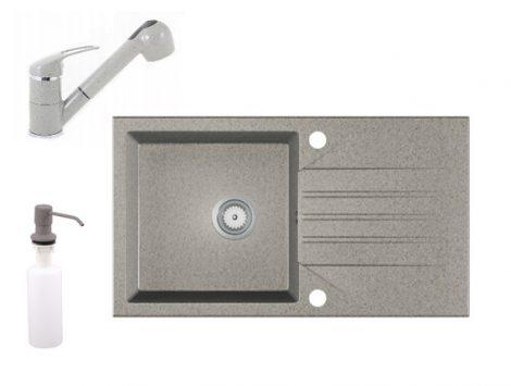 Gránit Mosogató EOS Evinion + kihúzható zuhanyfejes Shower csaptelep + adagoló (szürke)