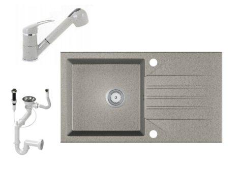 Gránit Mosogató EOS Evinion + kihúzható zuhanyfejes Shower csaptelep + dugókiemelő (szürke)