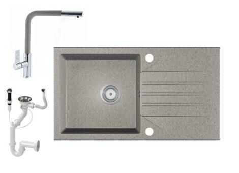 Gránit Mosogató EOS Evinion + kihúzható fejes Linea csaptelep + dugókiemelő (szürke)