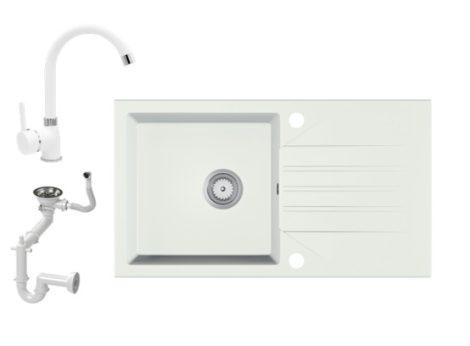Gránit Mosogató EOS Evinion + magasított csaptelep (fehér)