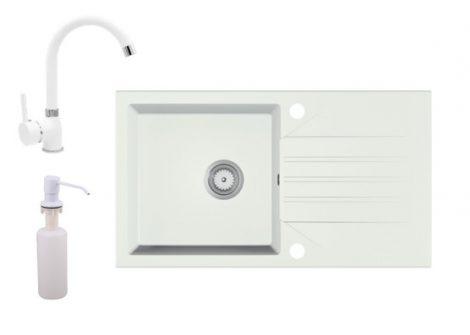 Gránit Mosogató EOS Evinion + magasított csaptelep + adagoló (fehér)