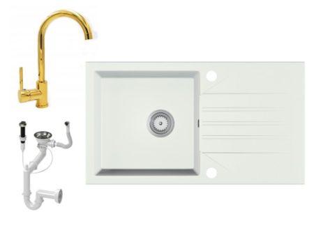Gránit Mosogató EOS Evinion + magasított arany csaptelep + dugókiemelő (fehér)