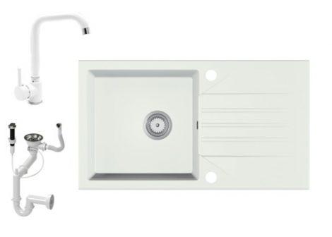 Gránit Mosogató EOS Evinion + Steel csaptelep + dugókiemelő (fehér)