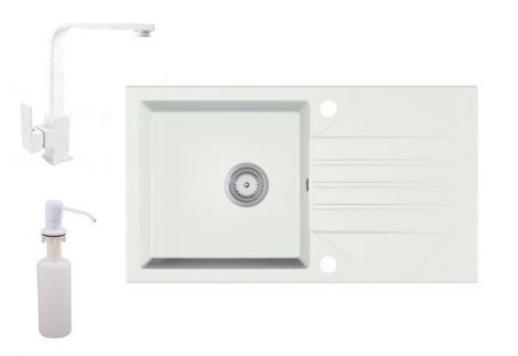Gránit Mosogató EOS Evinion + Design csaptelep + adagoló (fehér)