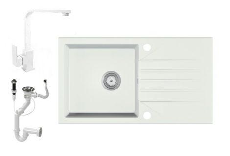 Gránit Mosogató EOS Evinion + Design csaptelep + dugókiemelő (fehér)