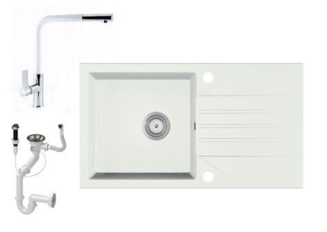 Gránit Mosogató EOS Evinion + kihúzható Linea csaptelep + dugókiemelő (fehér)