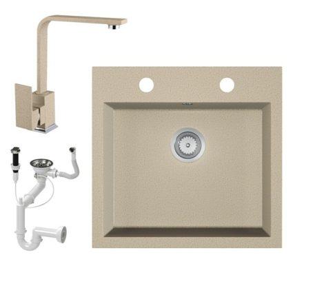 Gránit mosogató EOS Como + Design csaptelep + dugókiemelő + szifon (bézs)