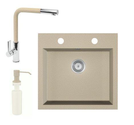 Gránit mosogató EOS Como + Kihúzható fejes Linea csaptelep + adagoló + szifon (bézs)