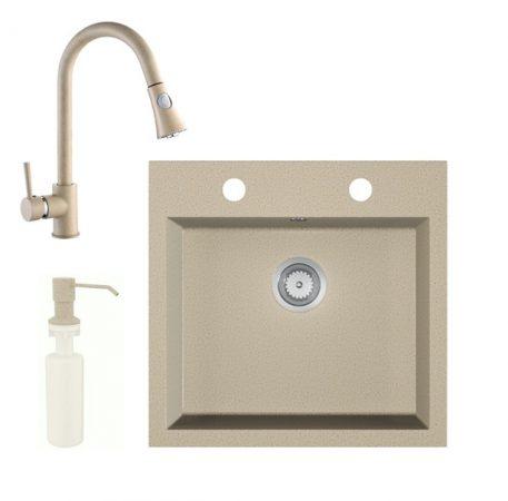 Gránit mosogató EOS Como + Kihúzható zuhanyfejes Snake csaptelep + adagoló + szifon (bézs)