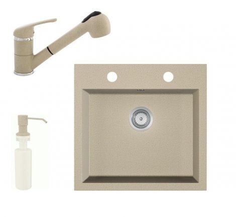 Gránit mosogató EOS Como + Kihúzható zuhanyfejes Shower csaptelep + adagoló + szifon (bézs)