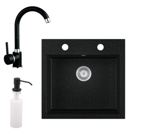 Gránit mosogató EOS Como + magasított csaptelep + adagoló + szifon (fekete)