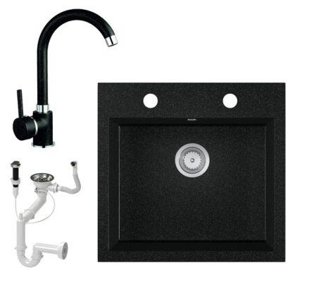 Gránit mosogató EOS Como + magasított csaptelep + dugókiemelő + szifon (fekete)