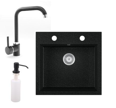 Gránit mosogató EOS Como + Steel csaptelep + adagoló + szifon (fekete)