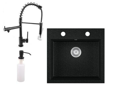 Gránit mosogató EOS Como + multifunkciós Spiral-Duo csaptelep + adagoló + szifon (fekete)