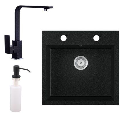 Gránit mosogató EOS Como + Design csaptelep + adagoló + szifon (fekete)