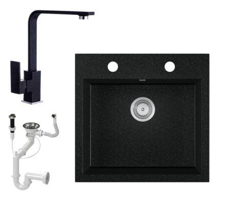 Gránit mosogató EOS Como + Design csaptelep + dugókiemelő + szifon (fekete)