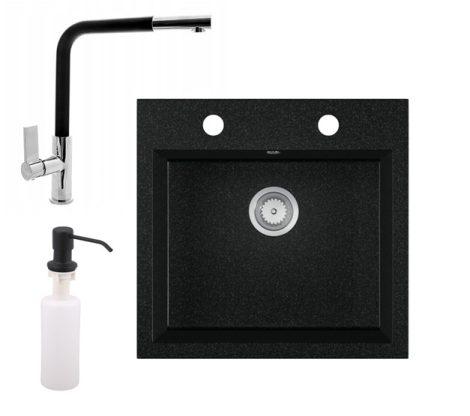 Gránit mosogató EOS Como + Kihúzható fejes Linea csaptelep + adagoló + szifon (fekete)