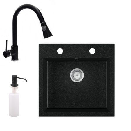 Gránit mosogató EOS Como + Kihúzható zuhanyfejes Snake csaptelep + adagoló + szifon (fekete)