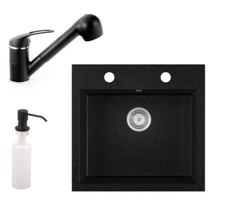 Gránit mosogató EOS Como + Kihúzható zuhanyfejes Shower csaptelep + adagoló + szifon (fekete)