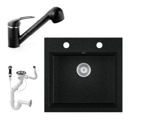 Gránit mosogató EOS Como + Kihúzható zuhanyfejes Shower csaptelep + dugókiemelő + szifon (fekete)
